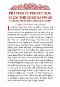 Anglican prayer for protection from Covid-19